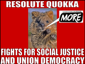 "alt=""Resolute Quokka fights for social justice and union democracy"""