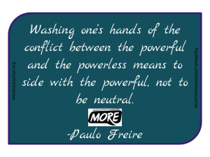 "alt=""washing one's hands of the conflict between the powerful and the powerless Paulo Freire"""