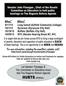 """""""let Senator Flanagan and the Committee on Education know that The Regents Reform Agenda Hurts our children"""""""