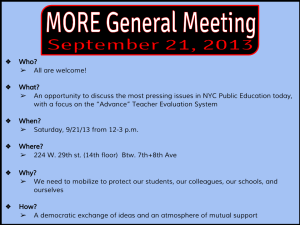 """MORE general meeting discuss the most pressing issues in NYC public education today, focus on Advance"""