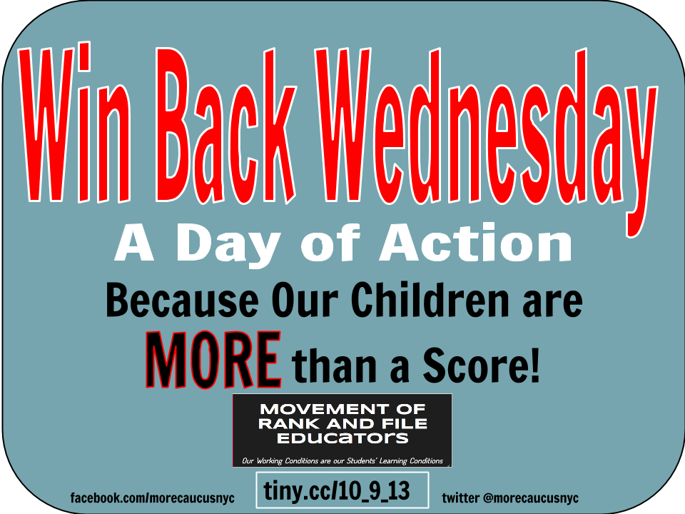 """Win Back Wednesday A Day of Action Because our children are MORE than a score"""