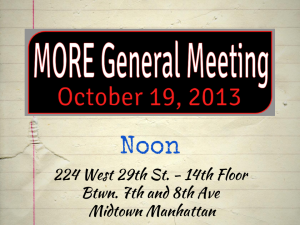 """MORE General Meeting october 11 2013"""