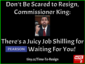 """don't be scared to resign, commisioner king: there's a juicy job chilling for Pearson waiting for you"""
