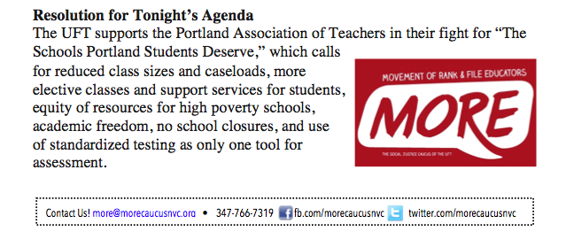 """The UFT supports the Portland Association of Teachers in their right for 'The Schools Portland Students Deserve'"""""