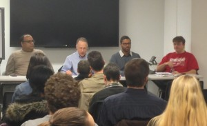 Panelists Anthony Lackhan, Marcus McArthur, Sean Petty, and moderator Kit Wainer sparked an insightful discussion about unity and fair contracts during the forum.