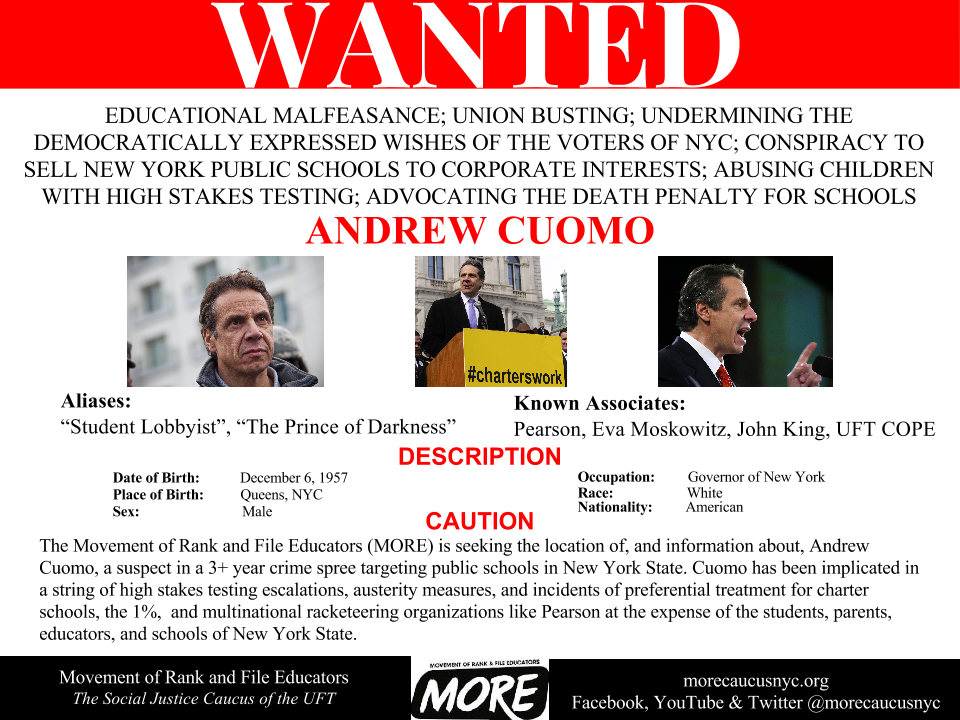 """Wanted: Andrew Cuomo"""