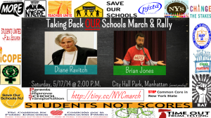 """Diane Ravitch and Brian Jones Taking Back OUR schools march and Rally"""