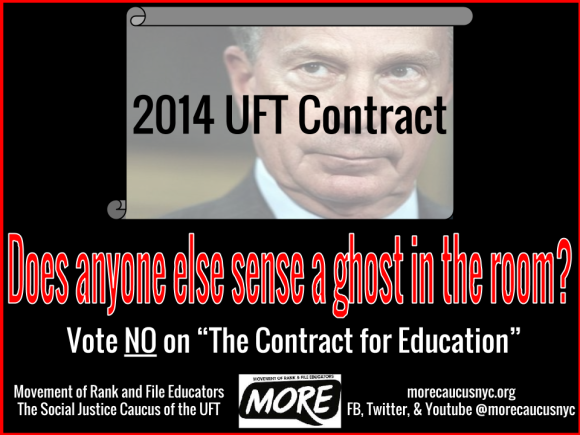 """Does anyone else sense a ghost in the room 2014 UFT contract vote no on the contract for education"""