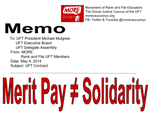 """MEMO to UFT President Michael Mulgrew from Movement of Rank and FIle Educators MERIT PAY ≠ Solidarity"""