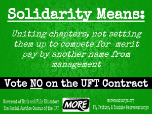 """solidarity mean: uniting chapters, not setting them up to compete for merit pay by another name from management"""