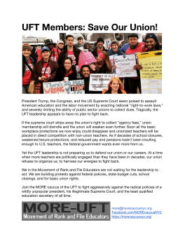 """UFT Members: Save Our Union!"""